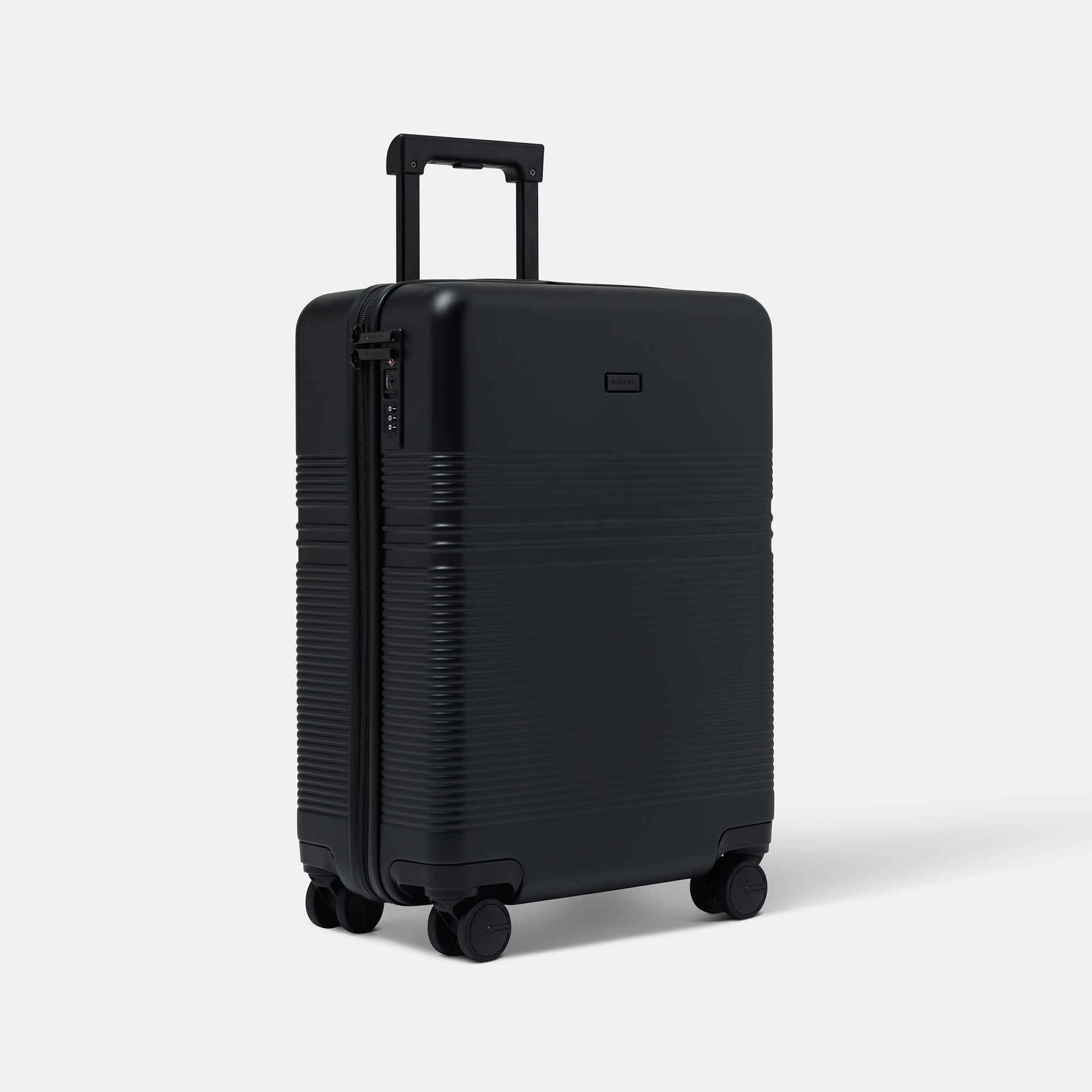 NORTVI sustainable design suitcase black made of durable material.