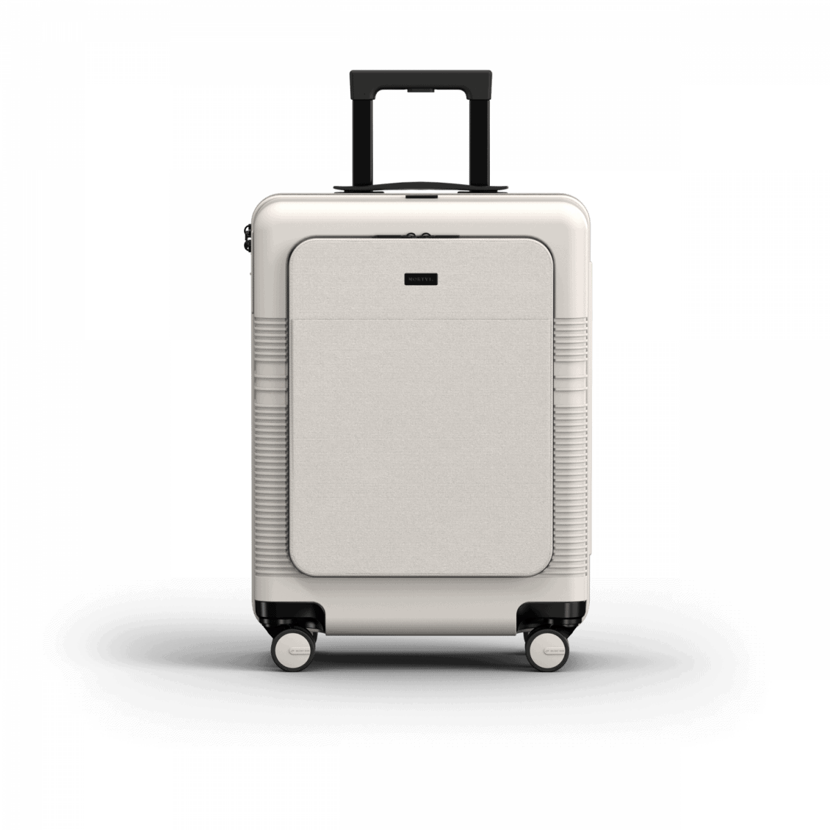 NORTVI sustainable design suitcase Sand White met Front Pocket 39 L gemaakt van duurzaam materiaal.