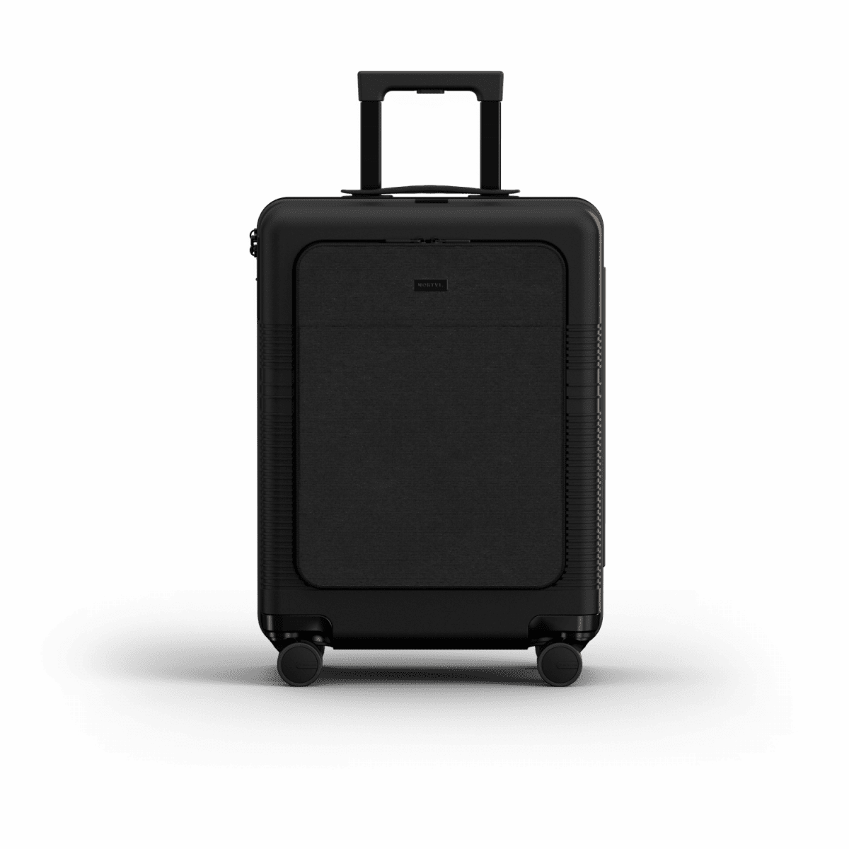 NORTVI sustainable design suitcase Midnight Black met Front Pocket 39 L gemaakt van duurzaam materiaal.