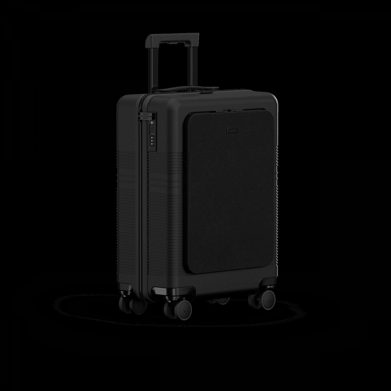 NORTVI sustainable design suitcase Midnight Black met Front Pocket 39 L gemaakt van duurzaam materiaal.