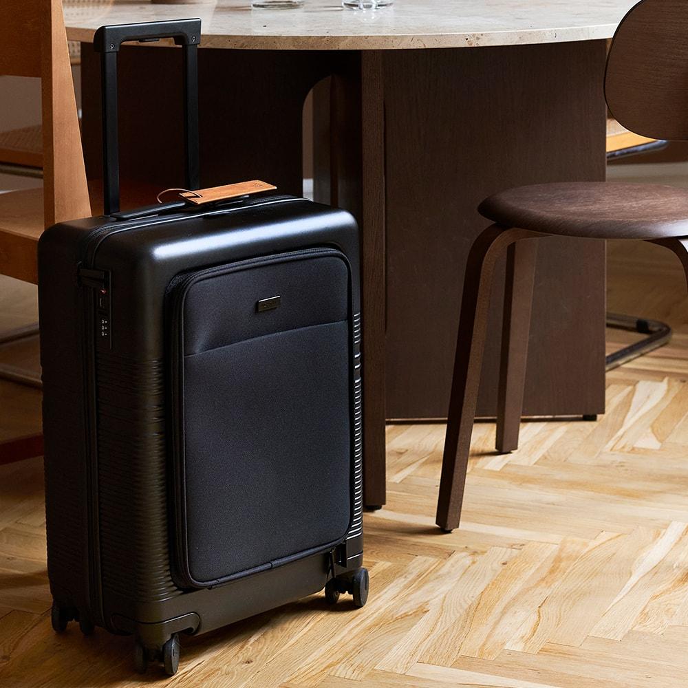 Camel Luggage Tag on suitcase